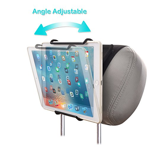 WANPOOL Universal Car Headrest Mount Holder with Angle-Adjustable Clamp - for Use with iPads, Samsung Tablets and More
