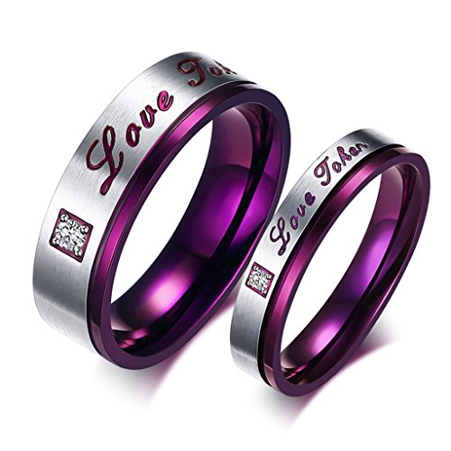 ROWAG 6MM Men Cubic Zirconia Stainless Steel Couple Rings for Him and Her 4MM Women CZ Rhinestones Wedding Promise Engagement Bands