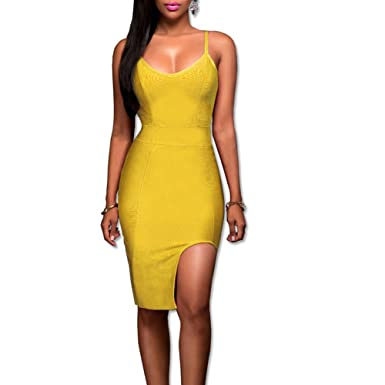 Womens Deep V Neck Strappy Splitting Club Party Bandage Dress Sexy Cocktail Evening Dresses (XL