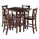 Winsome Wood Orlando 5 Piece Set High Table, 2 Shelves with 4 V-Back Counter Stools For Sale