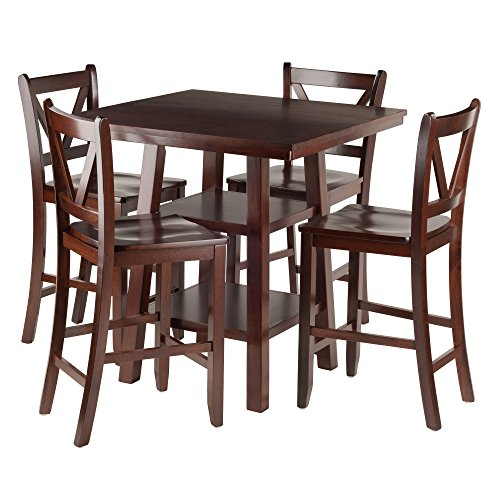 Winsome Wood Orlando 5 Piece Set High Table, 2 Shelves with 4 V-Back Counter Stools (Wood Furniture Orlando)