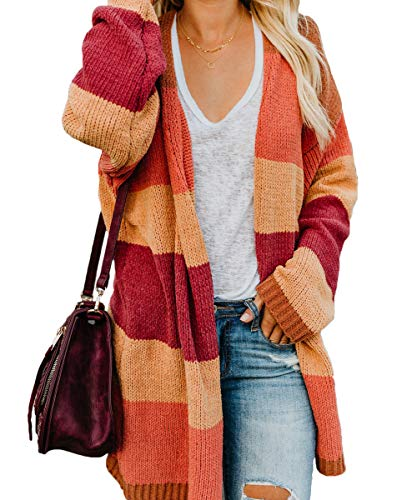 JUNBOON Women's Striped Long Sleeve Open Front Knit Cardigan Casual Pullover Sweater Rainbow
