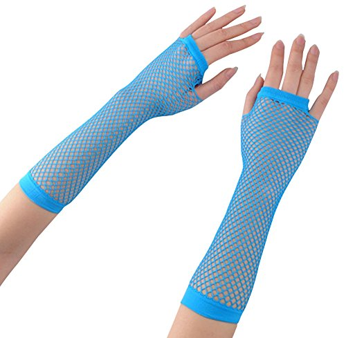 (Ayliss 2 Pairs Long+Short Fishnet Gloves 7 Colors)