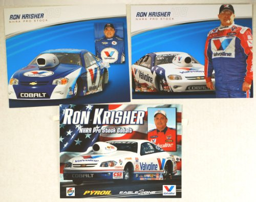 Valvoline NHRA - Ron Krisher - 3 Promo Cards - Pro Stock / Chevy Cobalt Eagle One - Full Color - Rare - Collectible