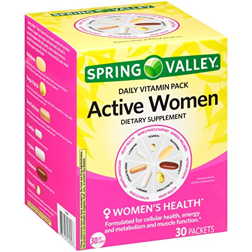 Spring ValleyTM Active Women Daily Vitamin Pack Dietary Supplement 30 ct Box (Kirkland Active Vitamin Pack)