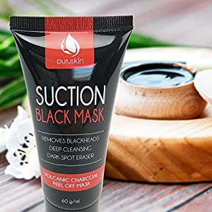 BEST VOLCANIC CHARCOAL PEEL OFF MASK for Men & Women, Blackhead Remover, Purifying Suction Black Face Masks for Deep Cleansing, Exfoliating, Acne Treatment, Oil-Control, Shrinks & Cleans Pores
