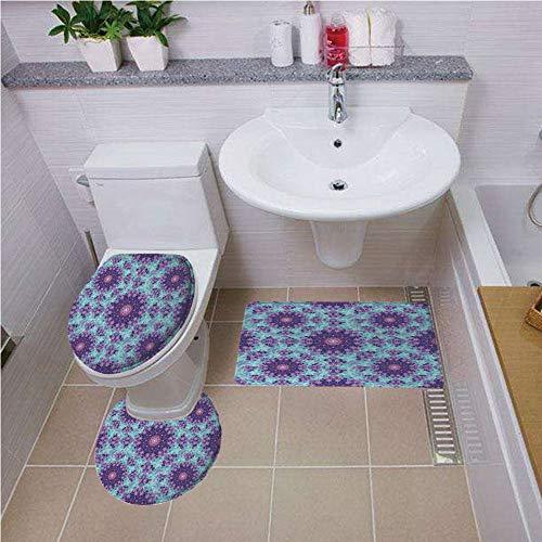 Bath mat set Round-Shaped Toilet Mat Area Rug Toilet Lid Covers 3PCS,Purple Mandala,Geometric Mosaic Fractal Ethnic Sign of Universe Graphic Art,Sky Blue Teal Mauve Lilac ,Bath mat set Round-Shaped To