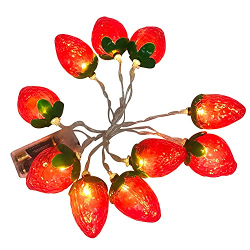 Agyvvt 10 LED Fruit String Lights Battery Powered Fairy String Lights for Garden, Christmas Tree, Parties, Home, Patio, Garden, Indoor and Outdoor Decoration (Strawberry)