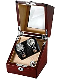 Wooden Single Automatic Watch Winder Storage Box for 2 Watches with LED Light