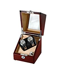 OLYMBROS Wooden Single Automatic Watch Winder Storage Box for 2 Watches with LED Light