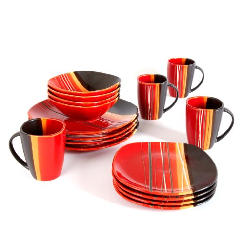 Home Trends 61590.16RM Bazaar Red 16-Piece Reactive Glaze Square Dinnerware Set, Red/Black/White/Orange Stripes