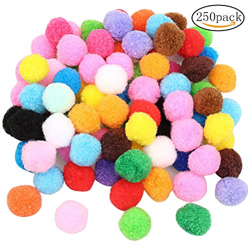 Color Scissor 250 Pieces 1 Inch Pom Poms Pompoms for Crafts Decorations, Hobby Supplies and DIY Creative, Assorted Colors