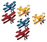 Dedoot Vintage Airplane Model Decor Vintage Mini Metal Decorative Airplane Wrought Iron Aircraft Biplane for Photo Props, Tree Ornament,Desktop Decoration,Pack of 6,3 Colors(Blue/Red/Yellow)