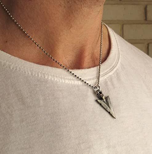 Amazon Com Men S Silver Necklace Arrow Pendant Mens Jewelry Triangle Charm Necklace Mens Pendant Handmade