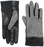 Isotoner Women's Smartouch Melange Tweed Glove with Bow, Black, X-Large