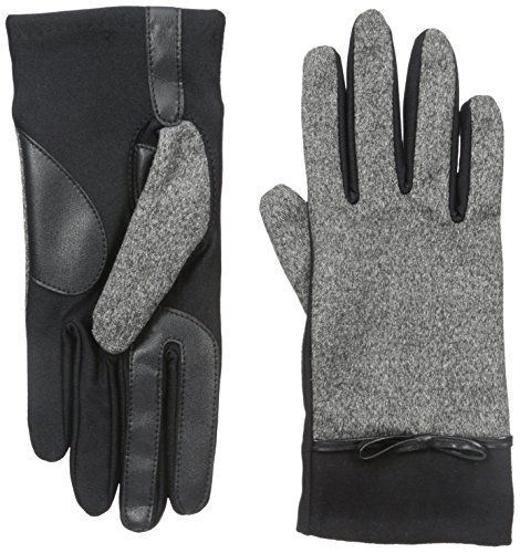 - Isotoner Women's Smartouch Melange Tweed Glove with Bow, Black, X-Large