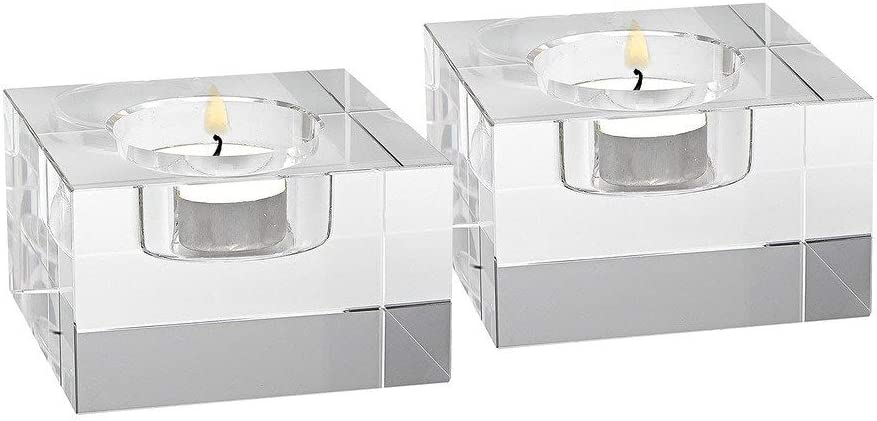 Pair of glass candleholders