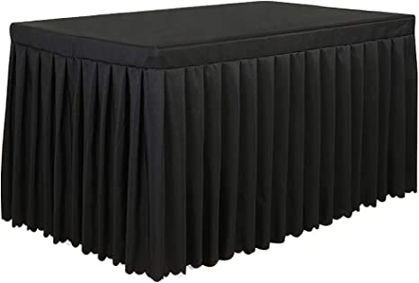 Black Spandex Table Cover and Table Skirt Spandex Table Skirts for Rectangle Tables 6ft and Fitted Table Cover 1 Piece Wrinkle Resistant Cloth Table Cloth with Skirt