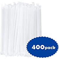 OTOR 400Pack Plastic Drinking Straws Individually Wrapped, Clear, 8.7 Inch Long