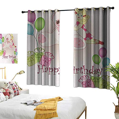 Anshesix Breathable Curtain Kids Birthday Baby Girl Birthday with Teddy Bears Toys Balloons Surprise Boxes Dolls Image W55 xL39 Light Pink Suitable for Bedroom Living Room Study,etc. from Anshesix