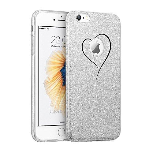 Price comparison product image iPhone 8 Protective Glitter Case for Girls Floating Bling Sparkle Cover 4.7 inch Silver (3, iPhone 8)