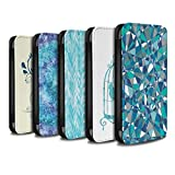 STUFF4 PU Leather Wallet Flip Case/Cover for Apple iPhone X/10 / Pack 18pcs Design / Teal Fashion Collection