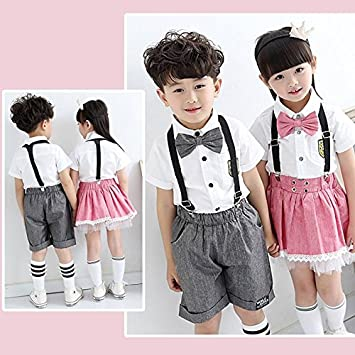 26cfd810860eb 韓国子供服超可愛い制服 キッズシャツ&サスペンダー 2点セット 蝶結びネクタイ セットアップ