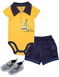 Baby -Boys' 3 Piece Bodysuit, Short, Shoe Set