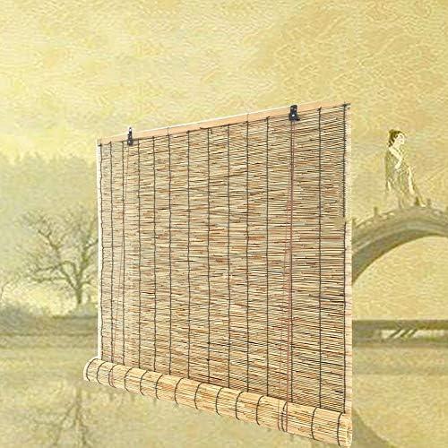 竹のカーテン-日よけ 竹すだれ -遮光 ロールアップ式 、モダン竹カーテン、天然すだれ 、防水防食、天然織り竹シェード、屋外/屋内用、カスタマイズ可能なサイズ