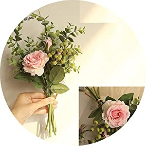 can't be satisfied Berry Eucalyptus and Bluch Pink Rose Spring Summer Wedding Boho Bridal Bridesmaids Flower Girl Wedding Bouquet 79