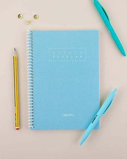 Casterli - Agenda Escolar 2019-2020 Basic Edition - Semana Vista, Tamaño A5 (Azul Cielo)