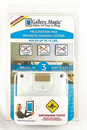 Withstands a 7.5 Magnitude Earthquake Wires Gallery Magic Earthquake Pack Adjustable Magnetic Picture Hanging Hardware Kit Measuring or Multiple Holes No Hooks