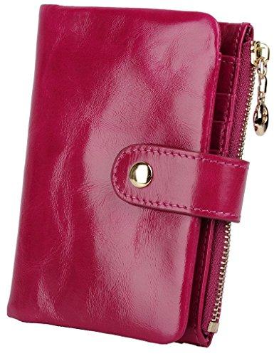 YALUXE Womens Compact Leather Bi fold