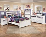 Jura White Finish 4PC Bedroom Set, Full Size Bed, Dresser, Mirror, Nightstand