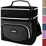 OPUX Premium Thermal Insulated Dual Compartment Lunch Bag for Men | Double Deck Reusable Lunch Tote with Shoulder Strap, Soft Leakproof Liner | Medium Lunch Box for Work, Office (Charcoal)