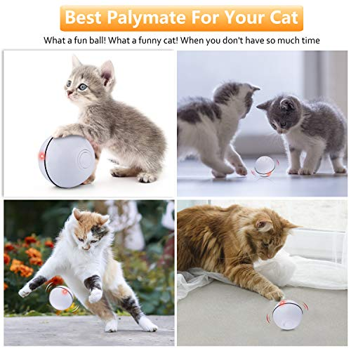 Interactive Cat Toys Ball, Self Rotating Cat Toy, Newest Version USB Rechargeable Pet Toy,Buit-in Spinning LED Light, Stimulate Hunting Instinct for Your Cat/Kitty/Kitten/Pets (White) 7