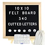 DiGiCare Felt Letter Board, 10x10 Inch Black Changeable Letter Board Wooden Letter Board Message Sign, 340 Pre-Cut Pin-In White Letters, Numbers, Emoji Symbols, With Adjustable Stand, Sawtooth Hanger