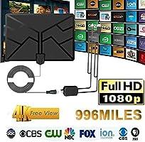 Welcometo Antena amplificada HDTV digital 4K Antena interior para interiores Antena amplificada 996 millas Alcance con HD1080P DVB-T2 Televisor de TDT para la vida Canales locales Emisión polite: Amazon.es: Bricolaje y herramientas