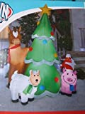 Gemmy 6.5' Christmas Tree With Farm Animals Lighted Airblown Inflatable