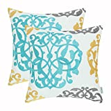 turquoise throw pillow  Pack of 2 Cotton Throw Pillow Cases Covers for Bed Couch Sofa Vintage Compass Geometric Floral Embroidered 18 X 18 Inches Turquoise Gold Gray
