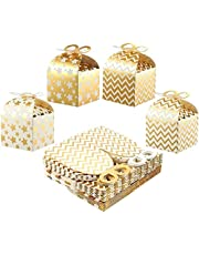 Best Paper Greetings Pack of 36 Paper Treat Boxes - Gable Favor Boxes Fun Party Play Goodie Boxes 3 Dozen Bright Golden Birthday Party Shower Loot Gift Boxes 4 Designs 3.7 x 3.2 x 3.7 inches
