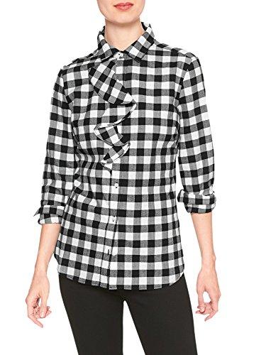 - Banana Republic Women's Heavyweight Flannel Plaid Ruffle-Placket Shirt Black White Small