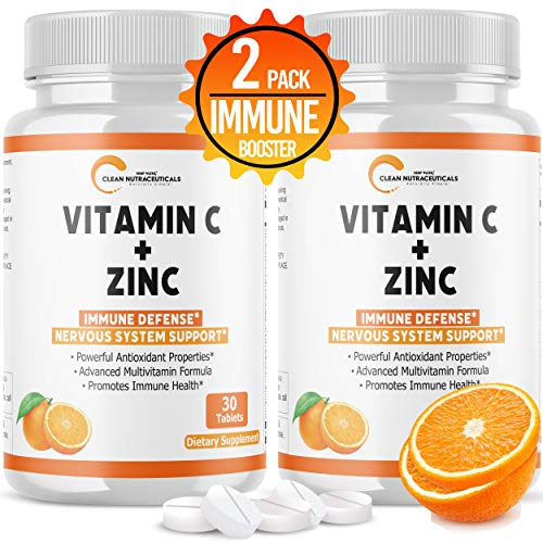 Vitamin C Tablets with Zinc, 25 Healthy Vitamins, Immune Support for Adults Kids, Zinc Tablets Immune System Booster…