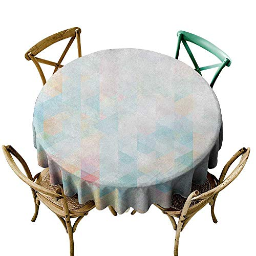 Wendell Joshua Vinyl Tablecloth 36 inch Abstract,Geometrical Futuristic Composition with Triangular Figures Fractal Mosaic Form, Multicolor Polyester Fabric Table Cloth