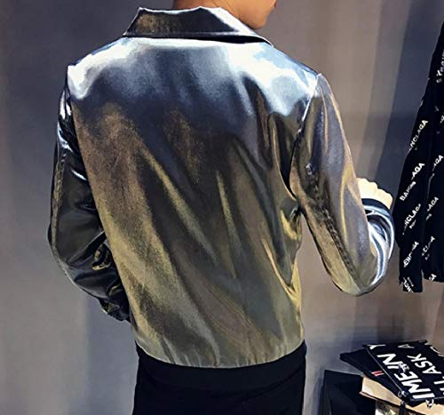 Argent Casual Liquid MogogoMen Coat Comfort New Jacket Zip Turn Collar Down OOHTvqS