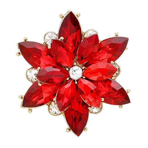 Rosemarie Collections Women's Christmas Holiday Oversize Dazzling Crystal Flower Stretch Cocktail Ring (Red/Gold Tone) (Tone Ring Gold Cocktail)