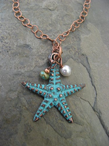 Starfish Necklace Pearl (Patina Mixed Metals Starfish Necklace with Swarovski Crystal Pearl Copper Boho Artisan Jewelry)