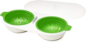 Dusdombr Microwave Eggs Poacher, Food Grade Double Cup Egg Boiler, Ovens Breakfast Cookware Kitchen Steamed Poached Egg Gadget, Non-Stick Fast Egg Steamer Cooking Mold with Lid (Green)