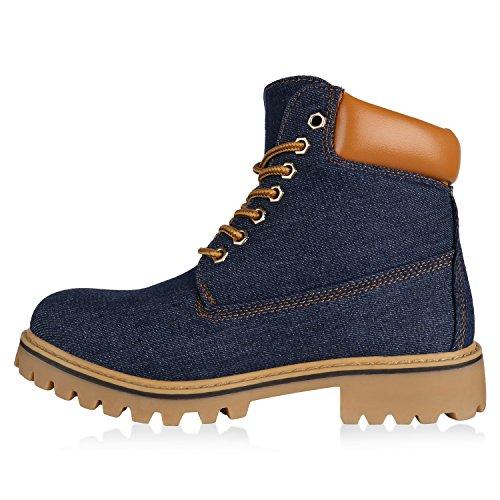 Outdoor Gefütterte Worker Leicht Profilsohle Denim Schuhe Boots Dunkelblau Damen Flandell Stiefelparadies pw4q5xItXn