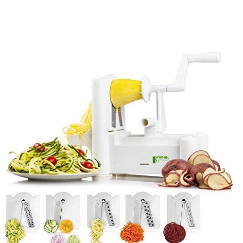 Food and Vegetable Spiralizer Mandoline Slicer: 5 Blade Spiral Chopper Peeler Grater Kitchen Gadgets